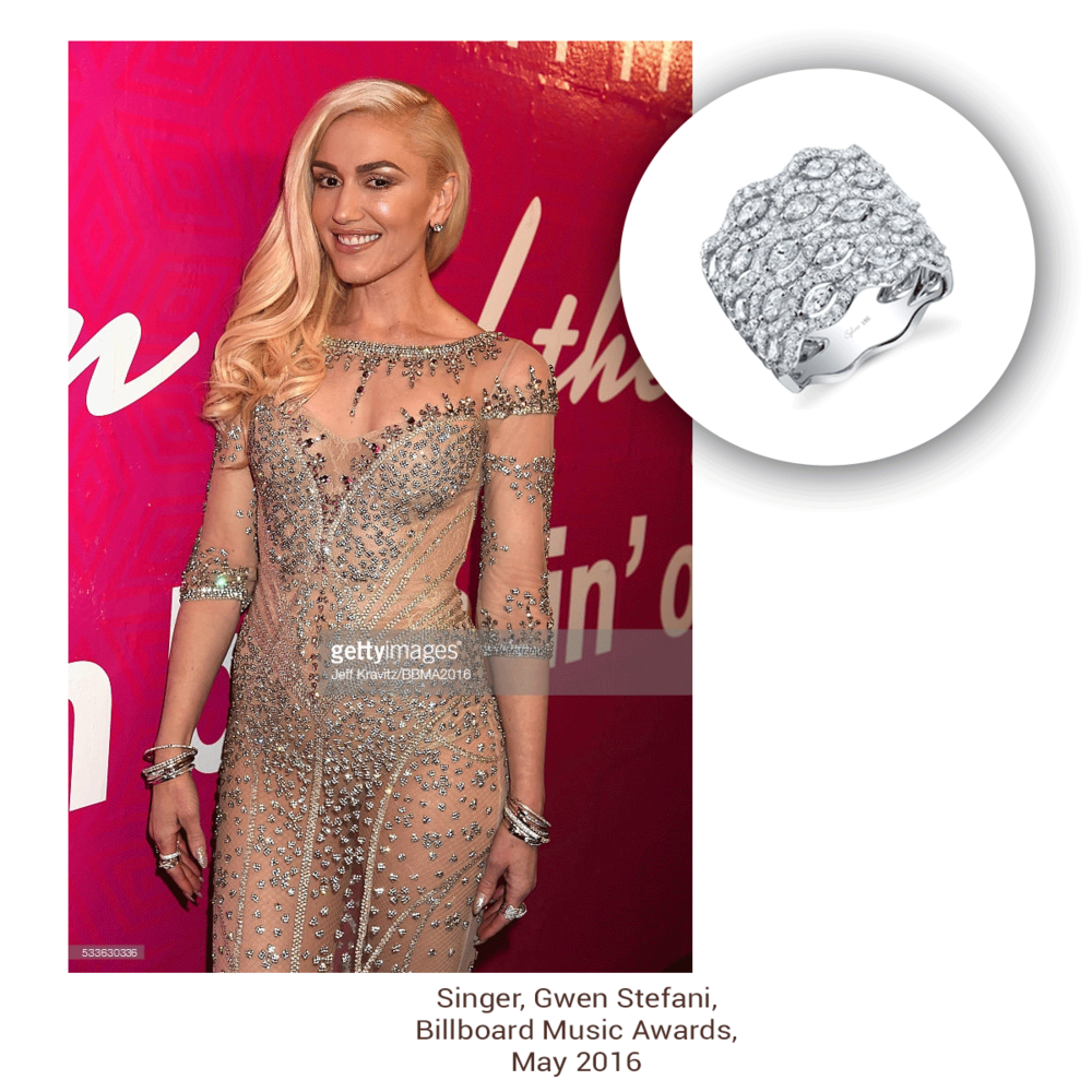 Gwen Stefani looks absolutely bedazzled in her one-of-a-kind dress, as she sparkles wearing Sylvie Collectionto match!