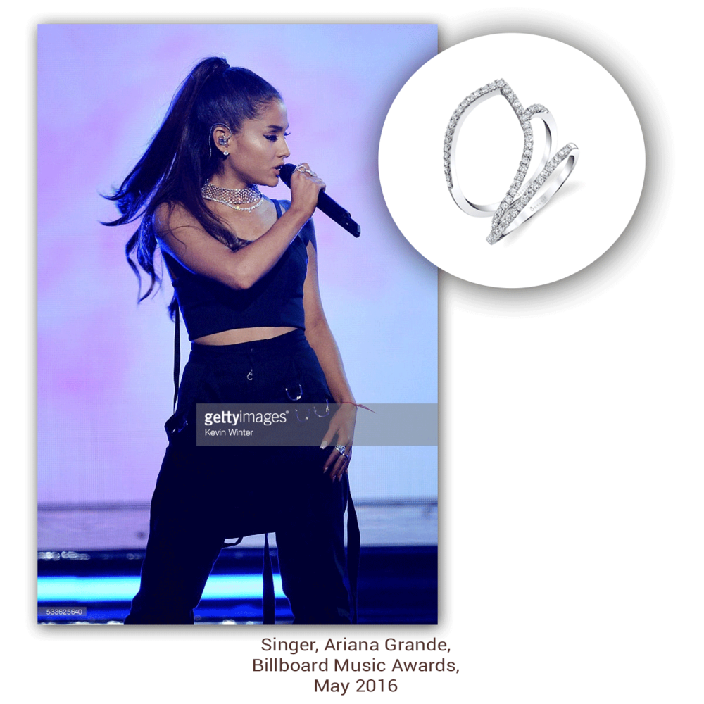 Ariana Grande rocks the Billboard Music Awards on with this minimalistic, yet ever so trendy white gold and diamond Sylvie Collection ring!
