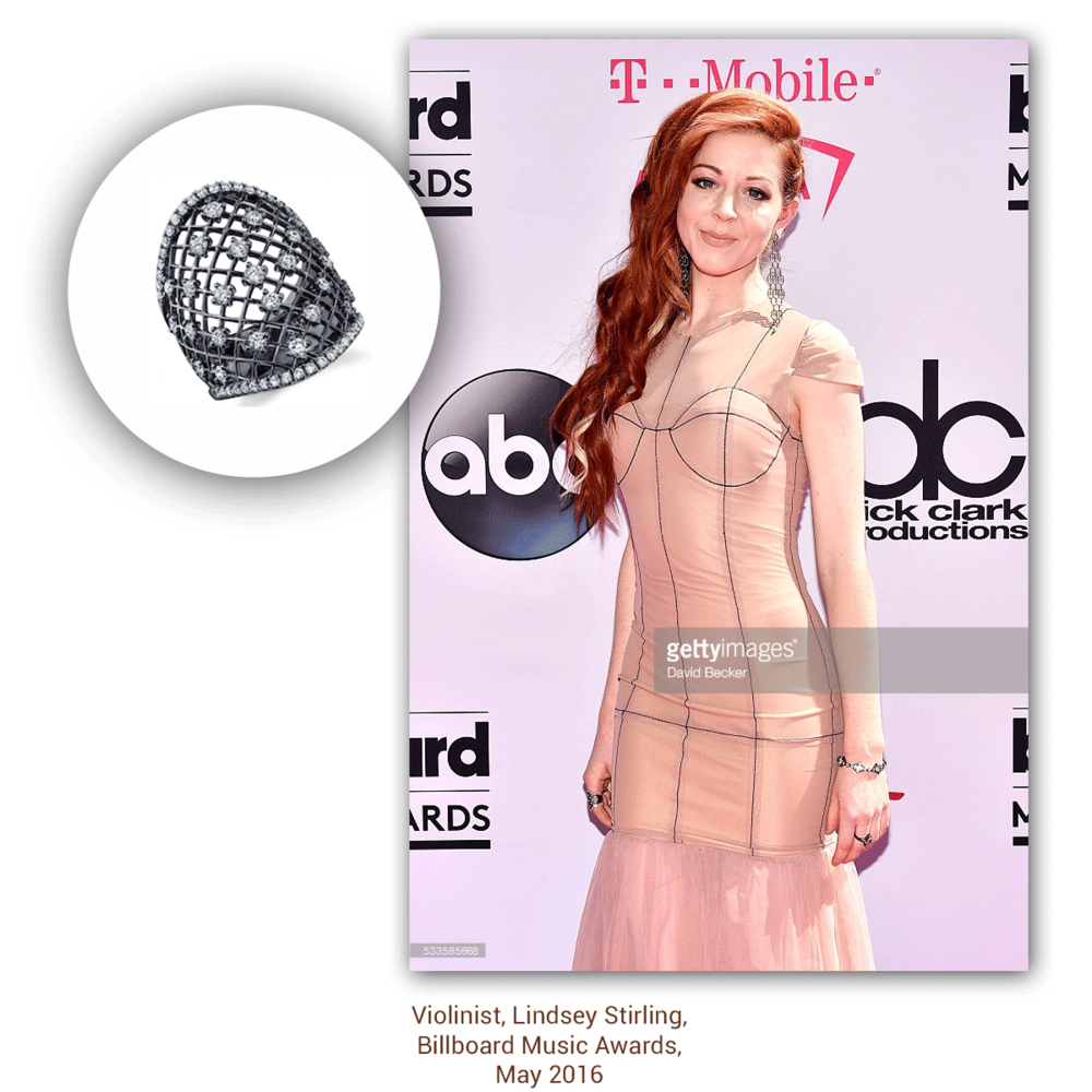Lindsey Stirling looked so flawless at the Billboard Music Awards sparkling to perfection in Sylvie Collection & Phillip Gavriel (below).