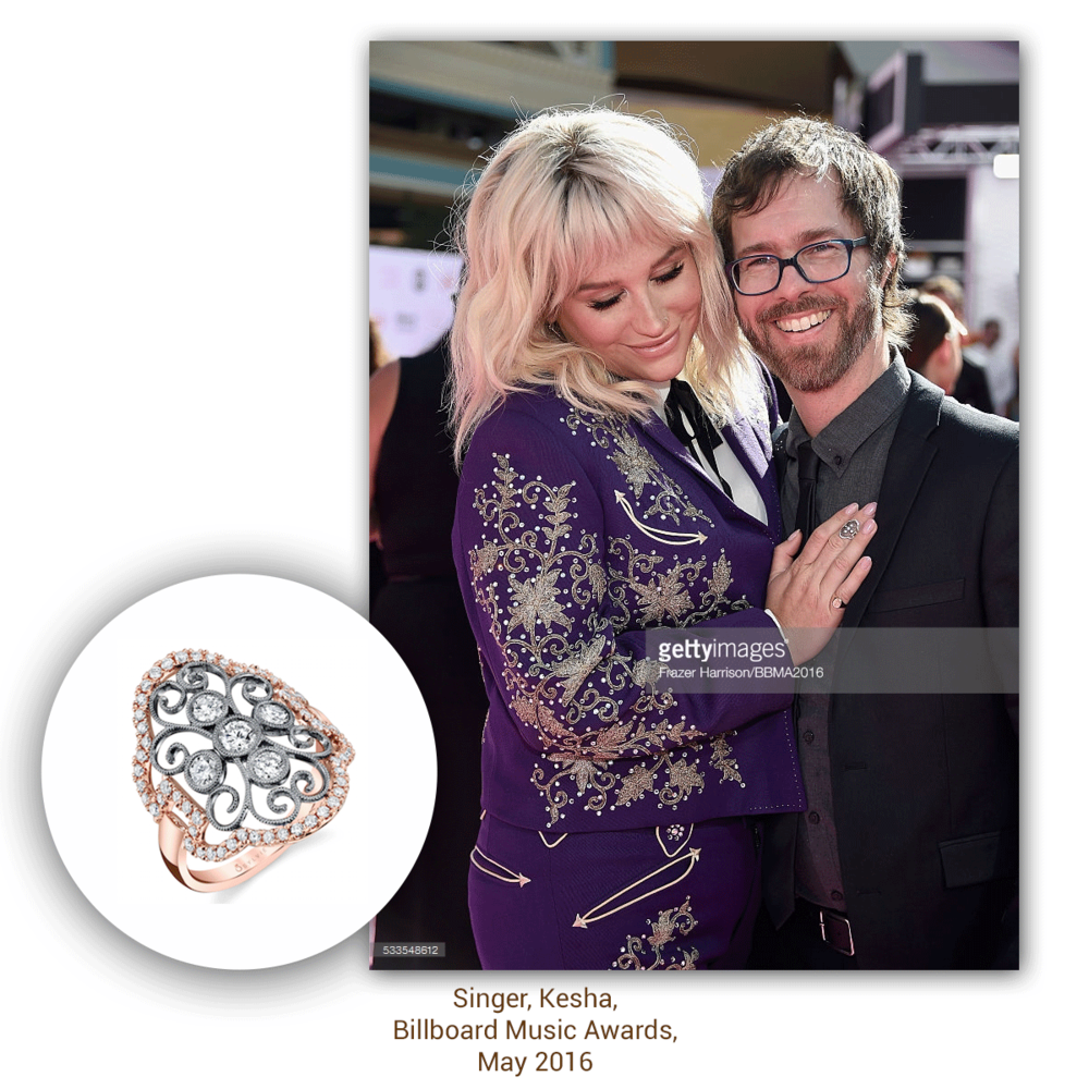 Singer Kesha looks pretty in purple at the Billboard Music Awards, accompanied by these Sylvie Collection& VIANNA BRASIL (below)sparkling stunners!