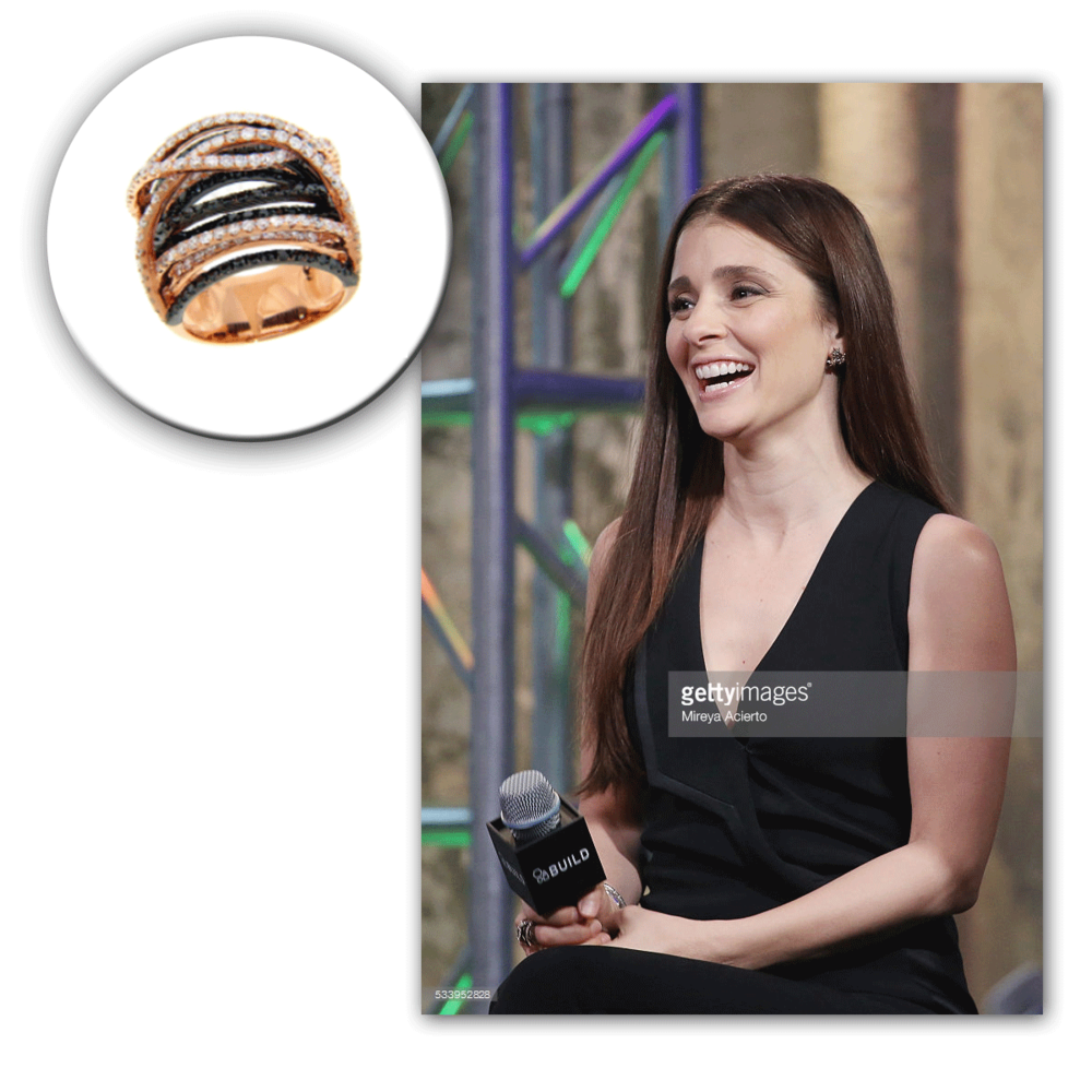 Shiri Appleby looks ever-so graceful in black accompanied by this Michael John Jewelry cocktail ring to match.