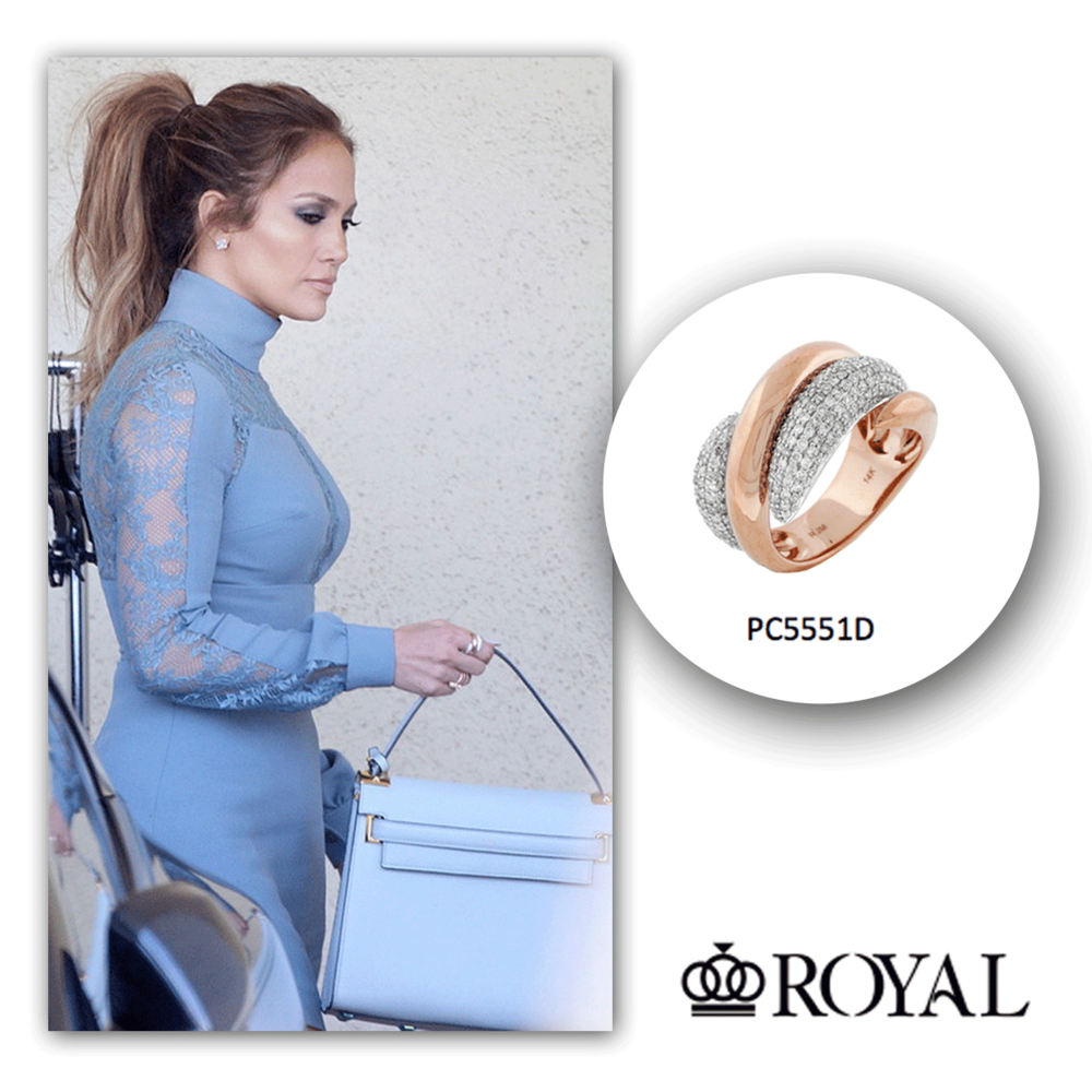 J-Lo looks bodacious in blue after recording in her studio, as she effortlessly sparkles in this rose gold and diamond ring by Royal Jewelry!