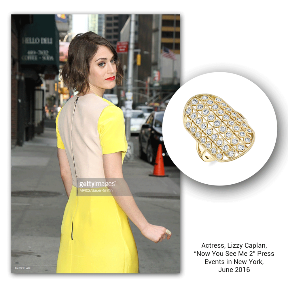 Lizzy Caplan looks stunning leaving a press event in this yellow gold and diamond ring by Sylvie Collection.
