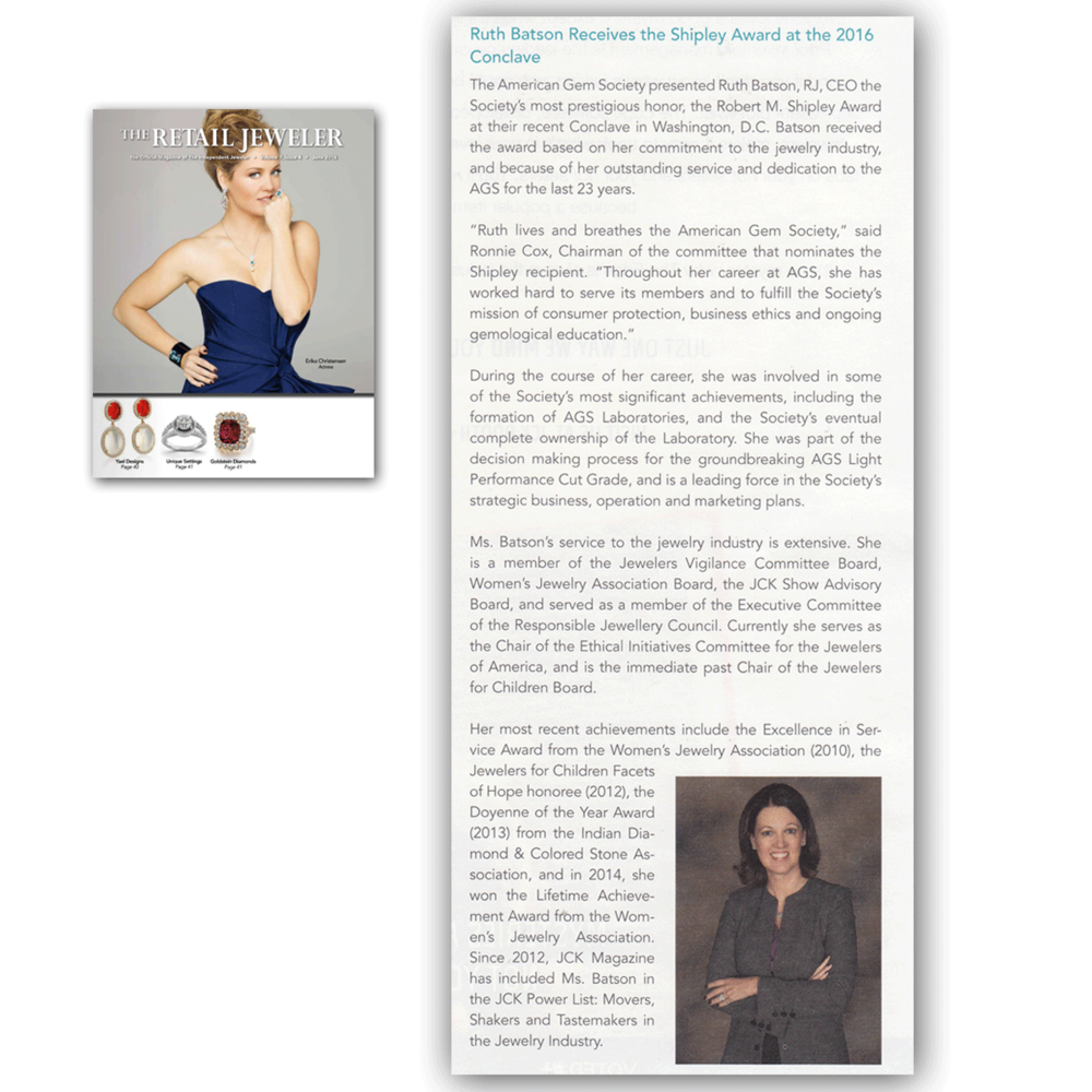 Thank you The Retail Jeweler for featuring American Gem Society's previous CEO, Ruth Batson for her prestigious honor.