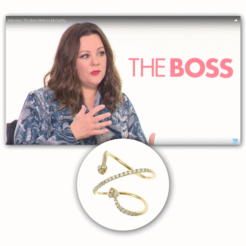 "Comedian and boss lady, Melissa McCarthy, adorned Supreme Jewelry during a press conference for ""The Boss."""