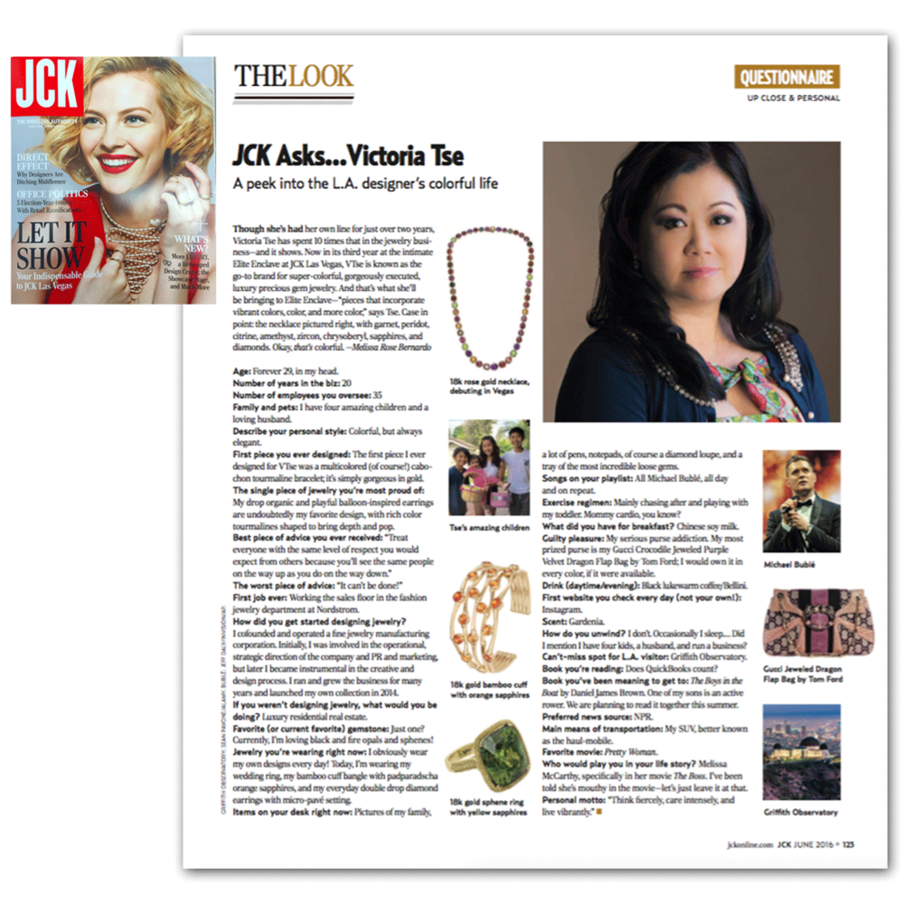We want to congratulate Victoria Tse of VTse Jewelry for being featured in the June issue of JCK Magazine!