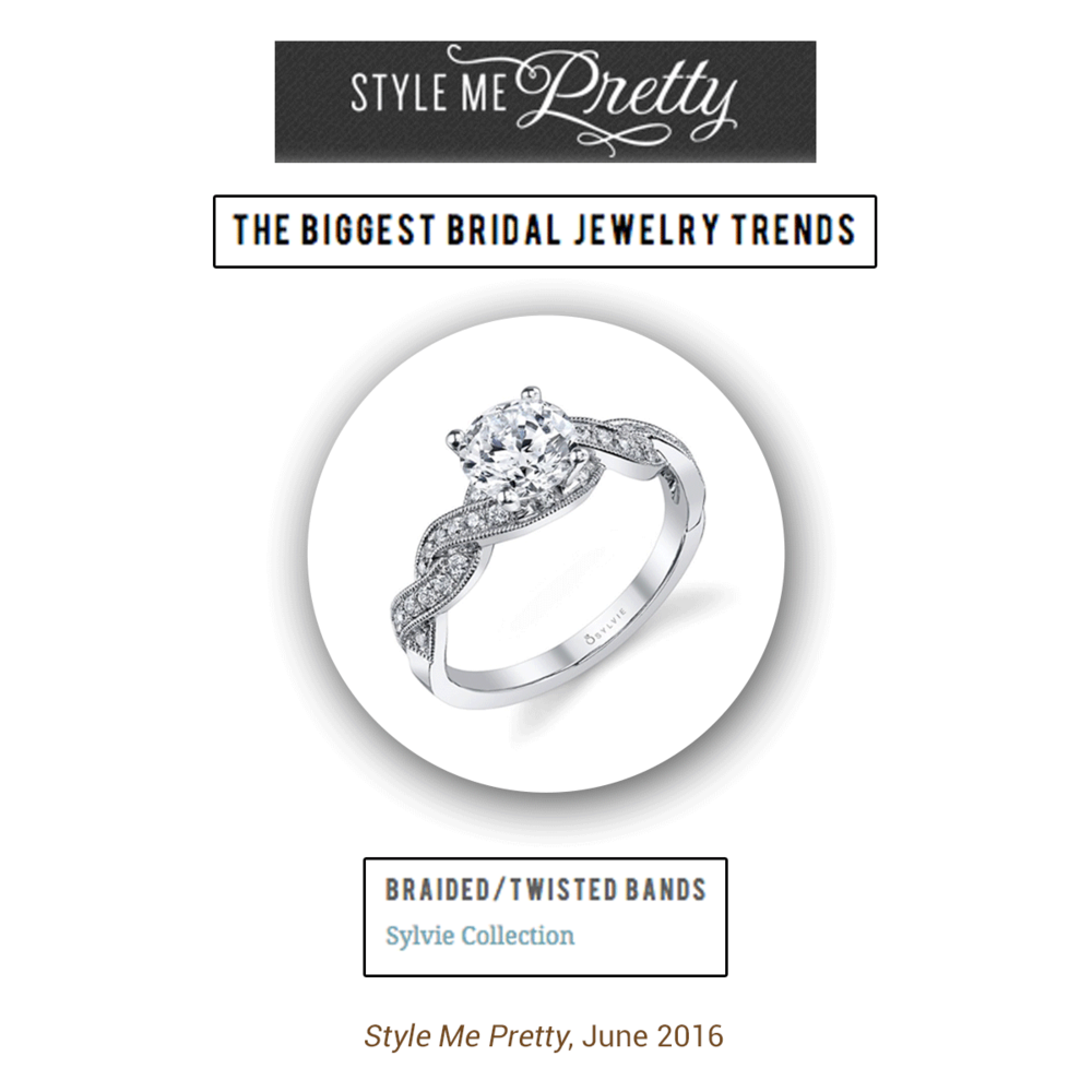 Sylvie Collection's timeless and elegant engagement ring was featured on Style Me Pretty!
