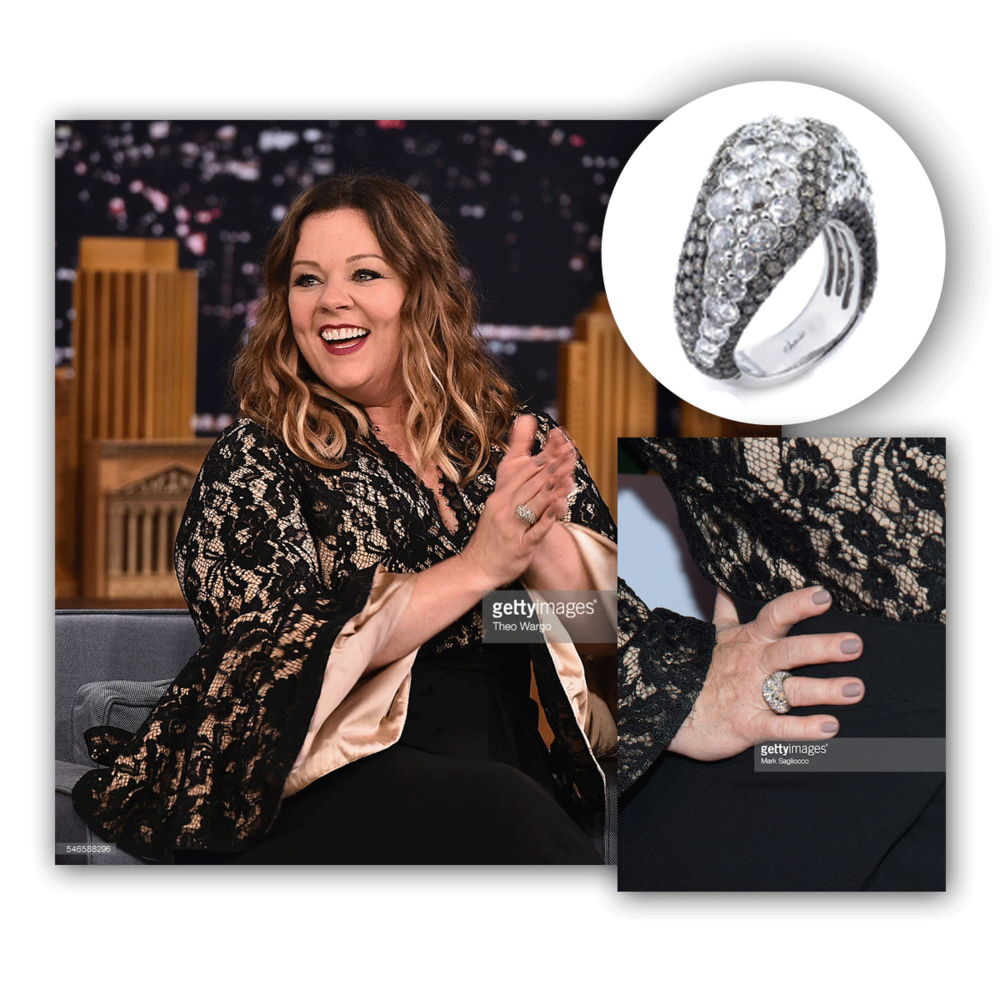 It's easy to make a statement with jewelry. Just look at Melissa McCarthy rocking this diamond cocktail ring by Supreme Jewelry.
