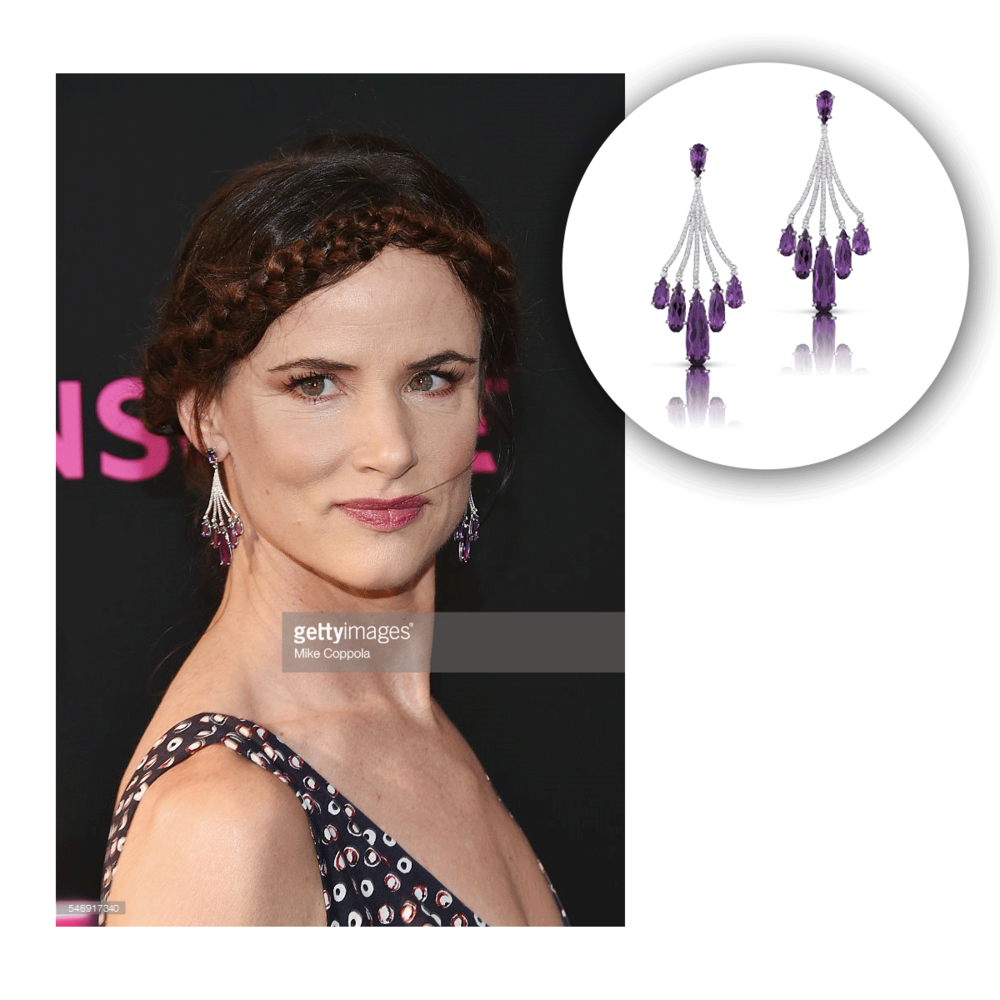 "Juliette Lewis looks stunning in VIANNA BRASIL earrings at the premiere of ""Nerve."""