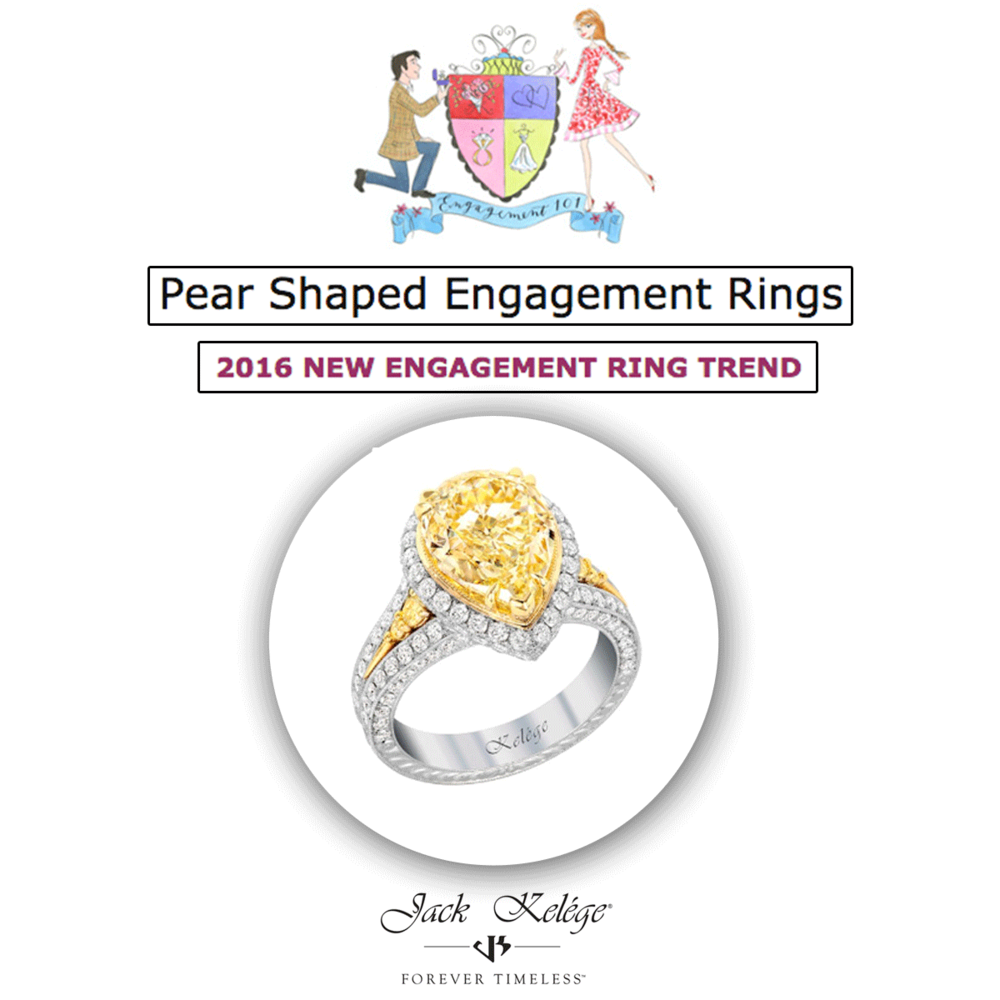 Make a statement with this colorful pear shaped engagement ring by Jack Kelége.