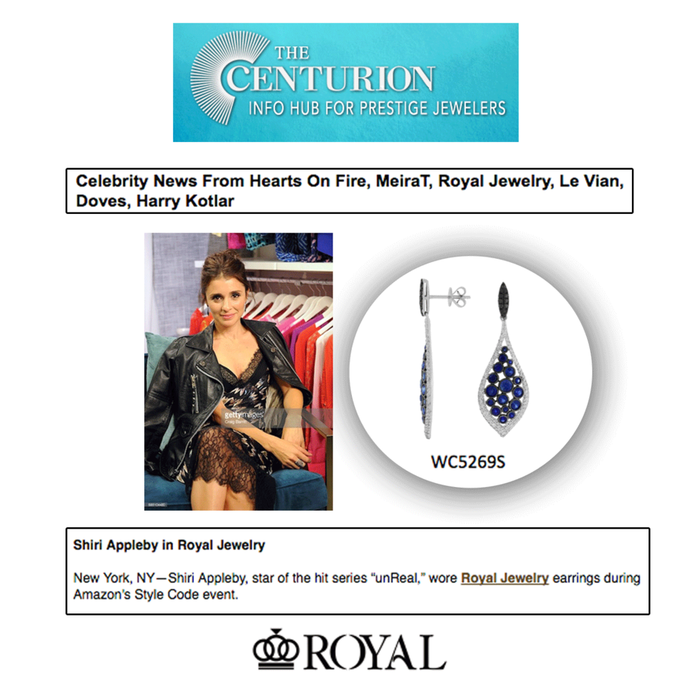 Shiri Appleby rocking Royal Jewelry earrings! She looks stunning in sapphire.