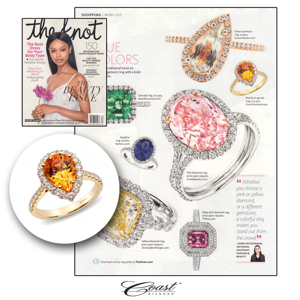 Mandarin garnet? Yes, please! This stunning engagement ring from Coast Diamond can be found in the pages of The Knot!