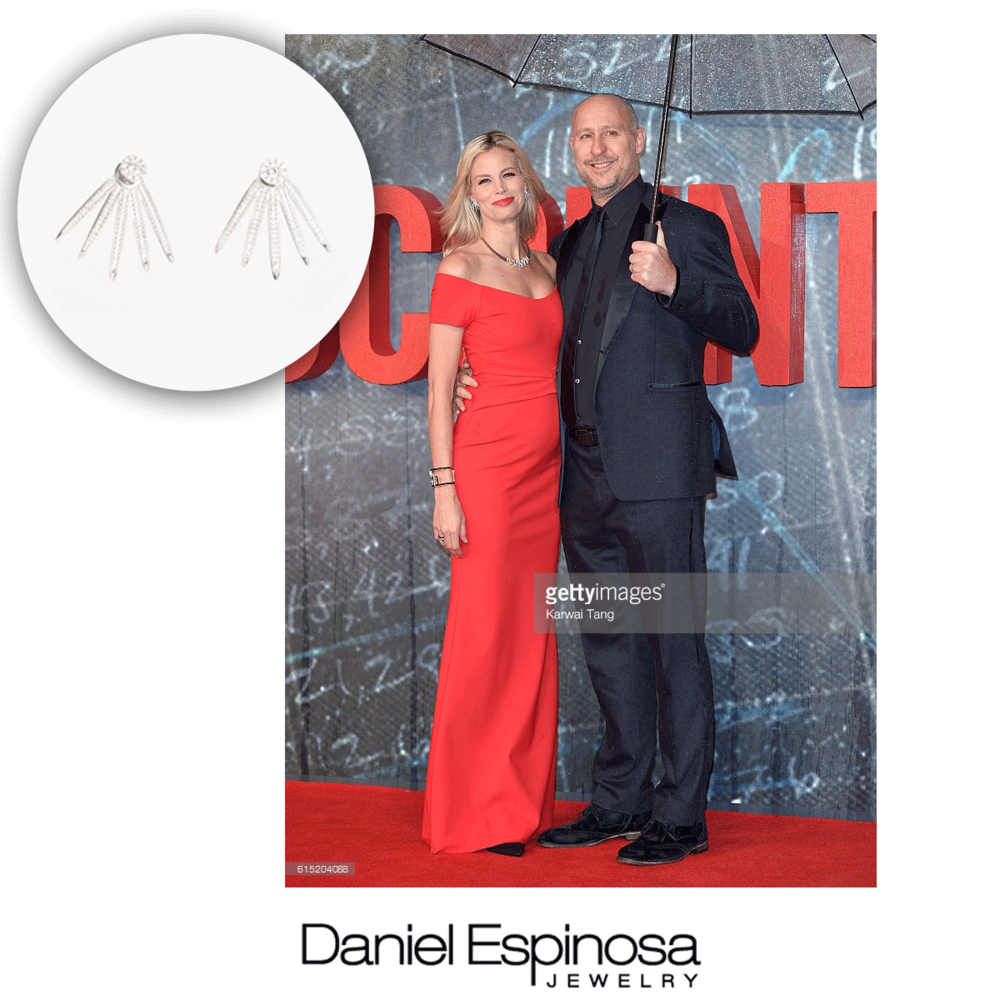 """Baywatch"" babe, Brooke Burns wore these fabulous Daniel Espinosa earrings to the UK premiere of ""The Accountant."" We can't get enough of ear jackets and climbers!"