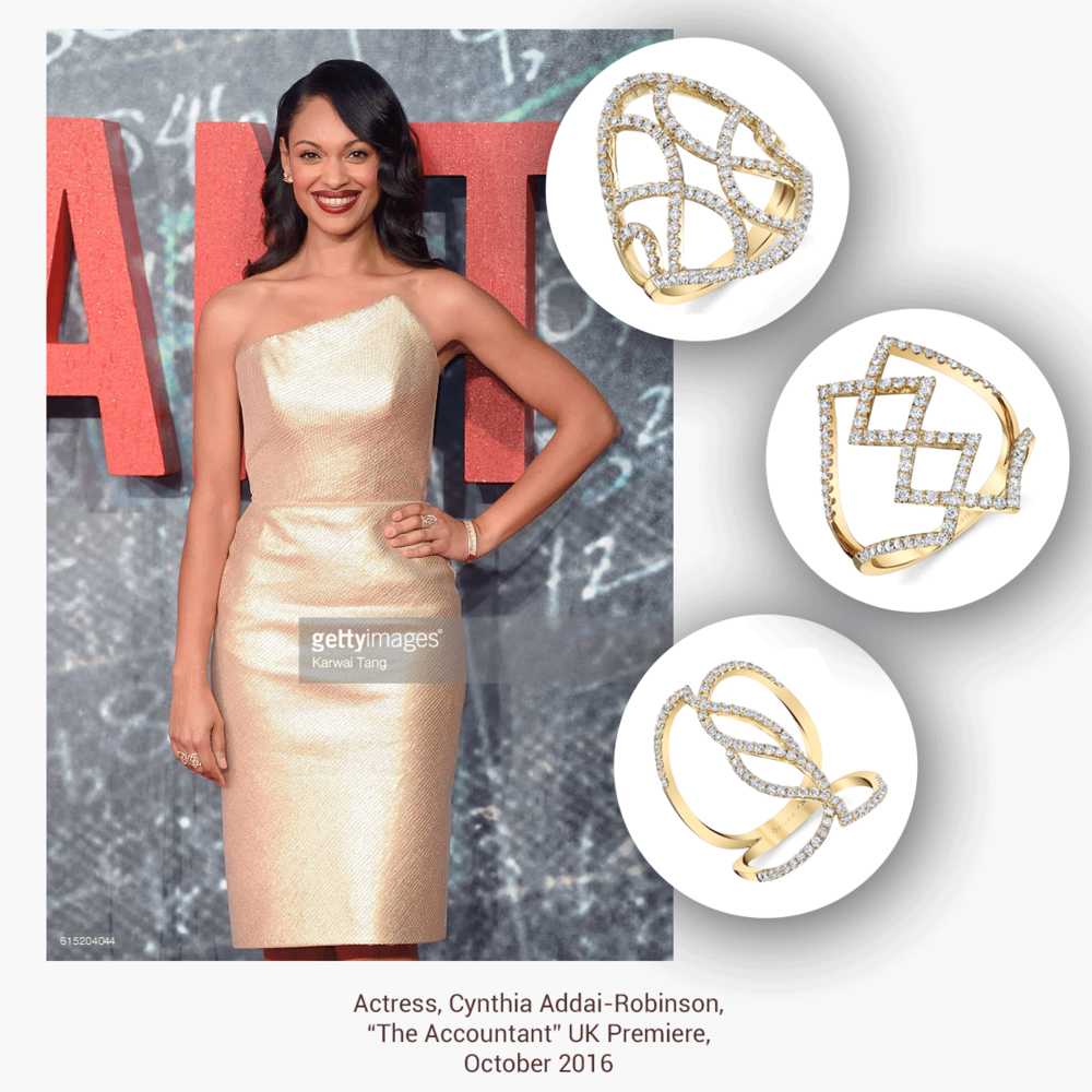 "Can you say Golden Goddess? Cynthia Addai-Robsinson wore these three elegant rings from Sylvie Collection to the UK premiere of ""The Accountant."""
