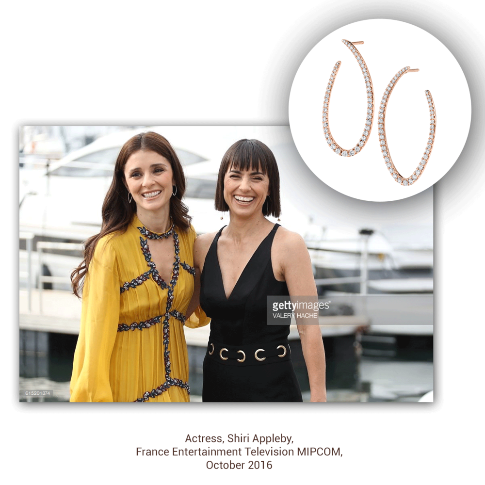 One of our favorite gals, Shiri Appleby, was spotted in these diamond earrings from Sylvie Collection over the weekend.