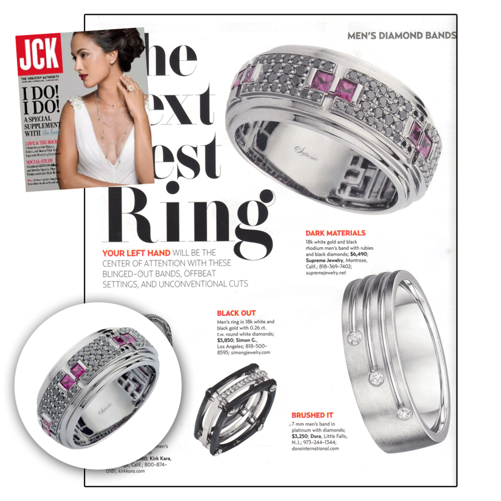 Be bold, be brilliant, wear Supreme Jewelry! They have great ring options for grooms.