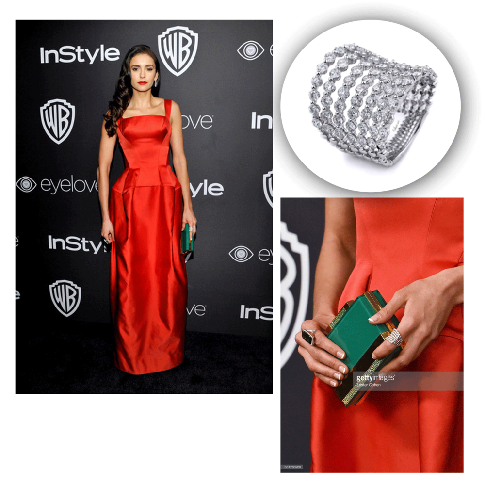 Nina Dobrev couldn't look more glamorous even if she tried! This diamond ring from Supreme Jewelry compliments her look perfectly.