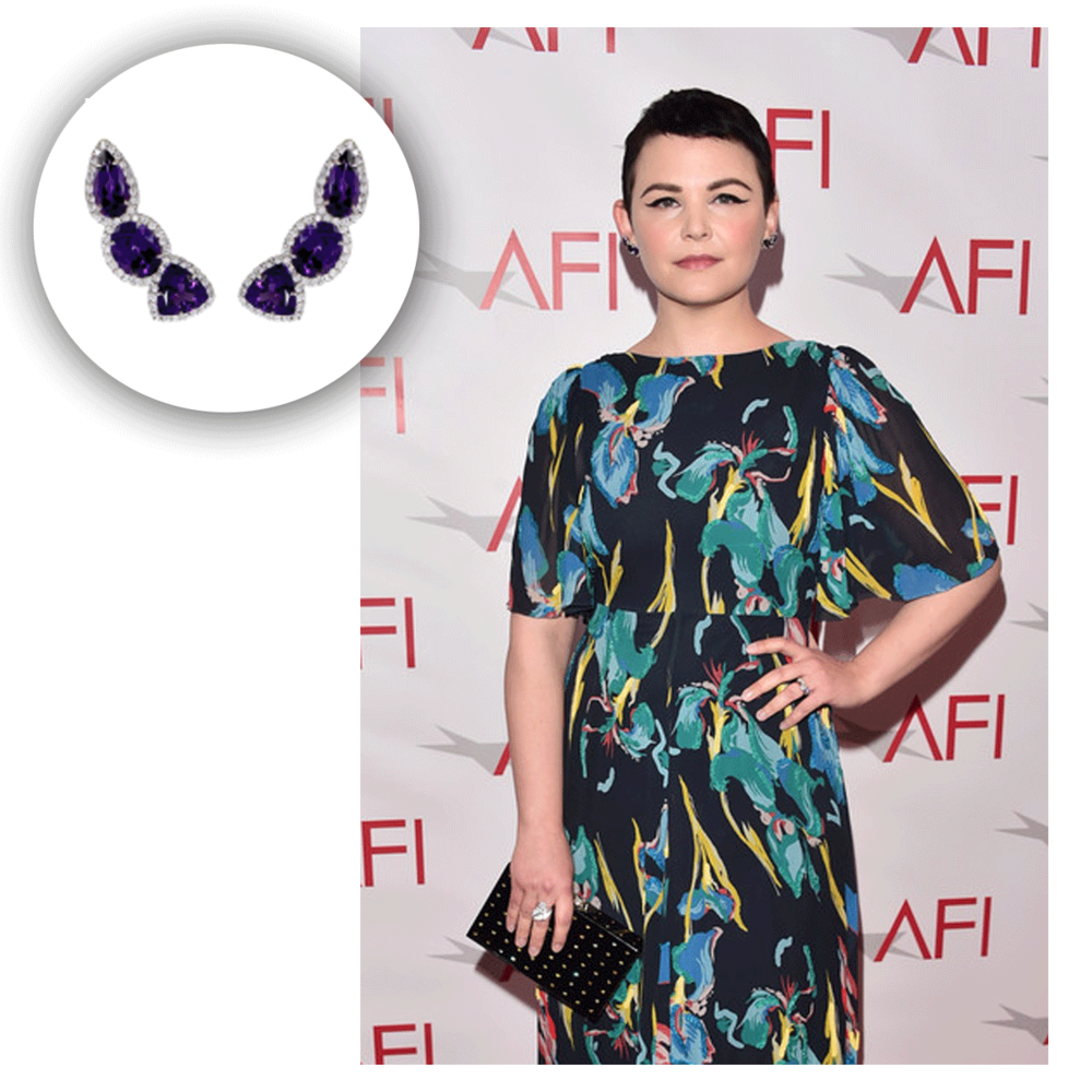 Pretty in purple! Ginnifer Goodwin wore these lovely earrings from VIANNA B.R.A.S.I.L. to the 17th Annual AFI Awards.