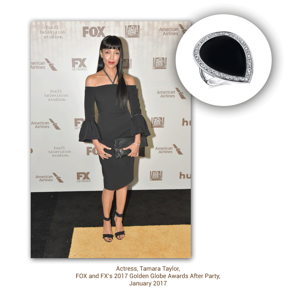 "Tamara Taylor from ""Bones"" looked amazing in Sylvie Collection at the FOX and FX Golden Globe after party."
