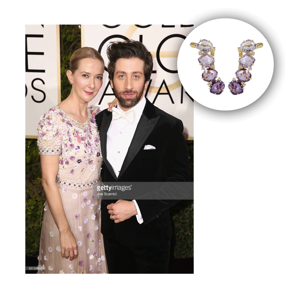 These earrings from VIANNA B.R.A.S.I.L. were the perfect purple accessory for Jocelyn Towne at the Golden Globes!