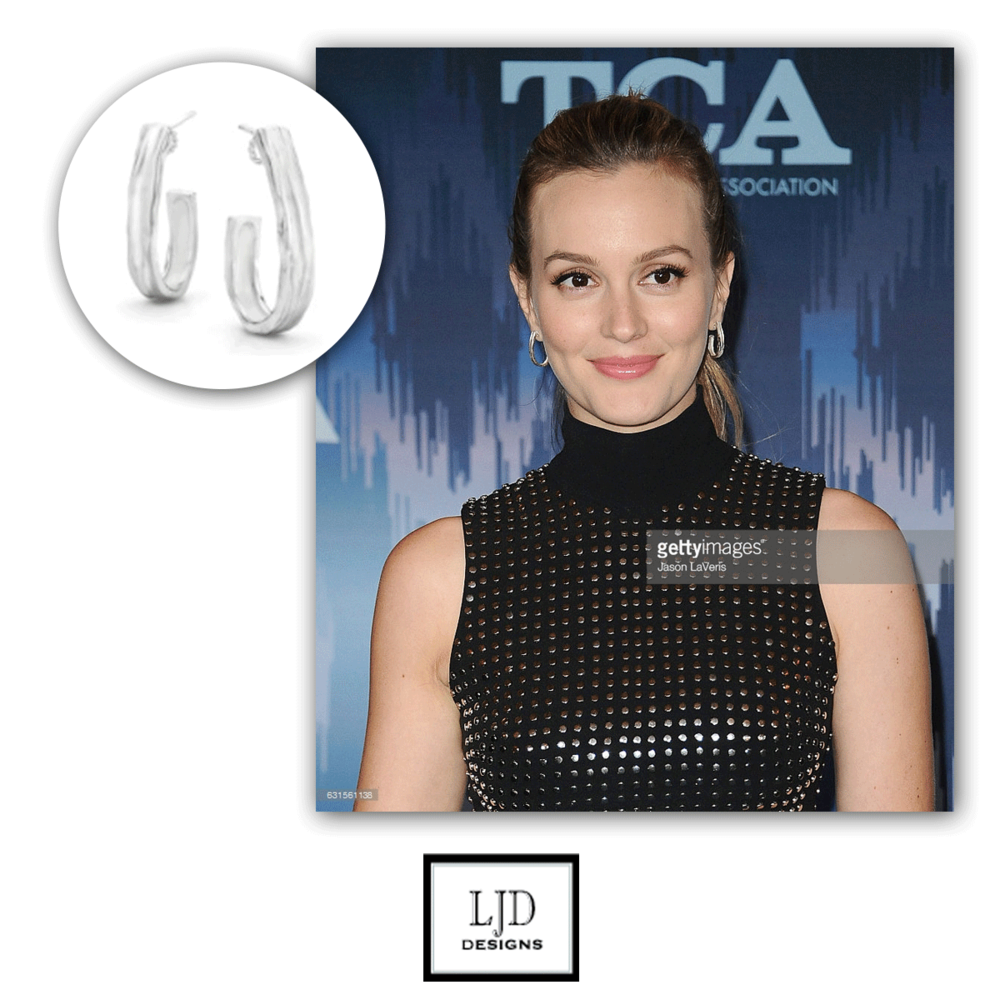 Leighton Meester rocked a pair of LJD earrings to the 2017 Winter TCA Tour - Fox All Star Party!