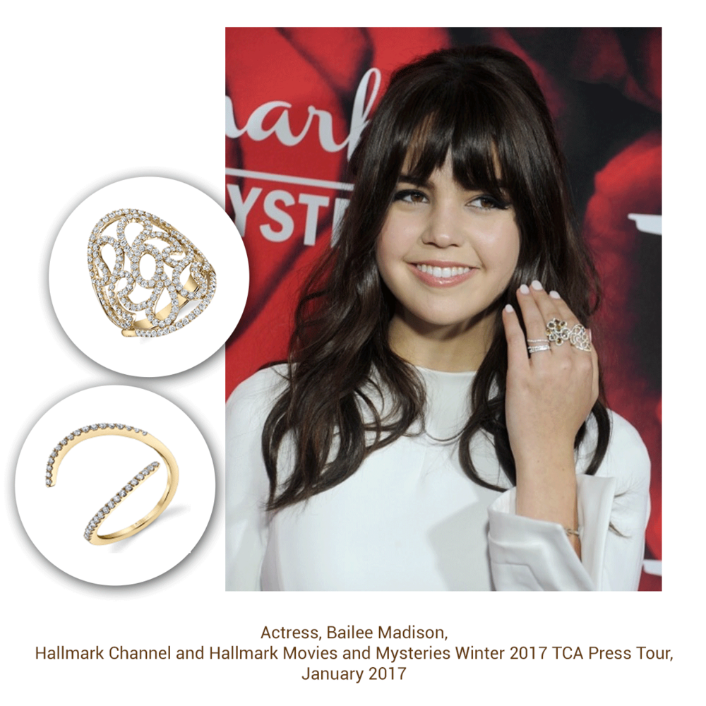 You can't go wrong with rings! Bailee Madison looks ravishing in Sylvie Collection.