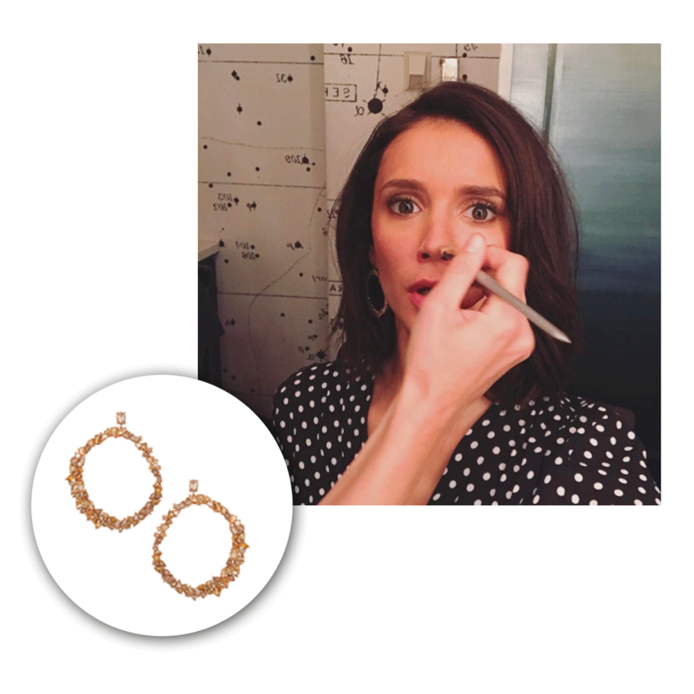 A very behind-the-scenes look at Nina Dobrev wearing Michael John Jewelry earrings!