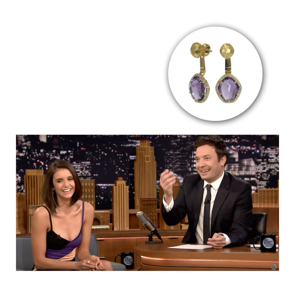 "Picture perfect in purple! Nina Dobrev wore these gorgeous VIANNA B.R.A.S.I.L. earrings on ""The Tonight Show with Jimmy Fallon."""