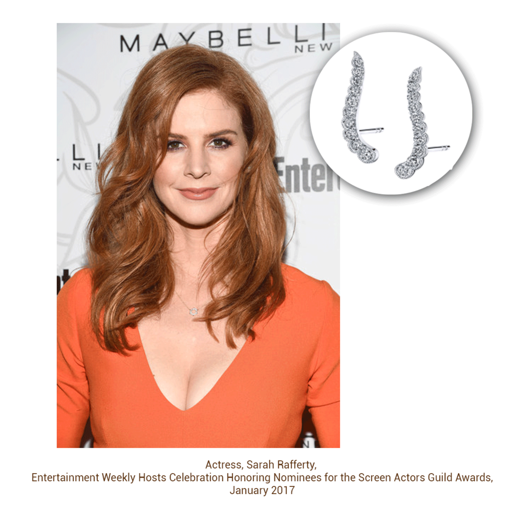 Red hot! Actress Sarah Rafferty sporting earrings from Sylvie Collection