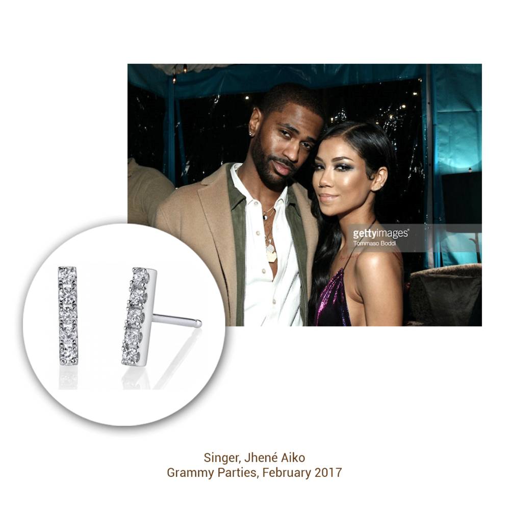 Singer Jhené Aiko is, of course, glowing in Sylvie Collection ear climbers.