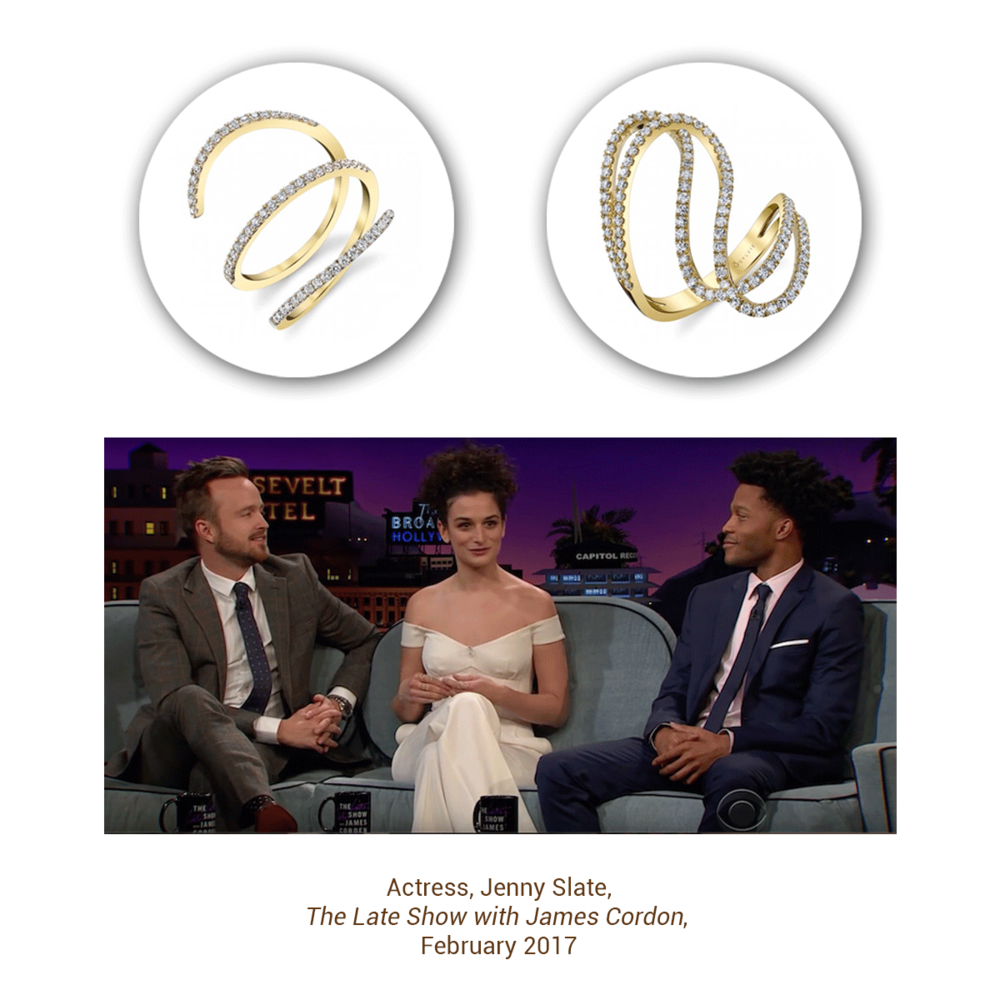 """Jenny Slate looks great in the Sylvie Collection on """"The Late Night Show with James Cordon"""""""