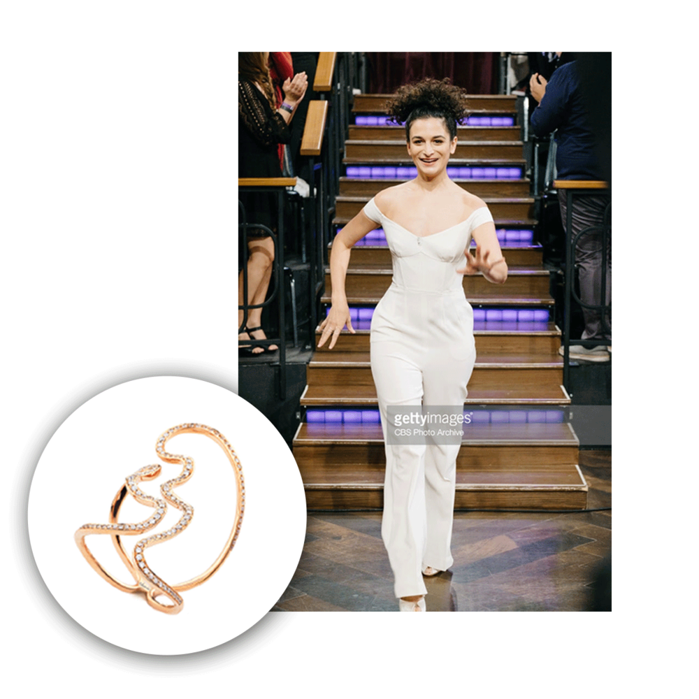 """Jenny Slate also wore a Supreme ring to """"The Late Night Show with James Cordon"""" and it fit so perfectly with her outfit."""
