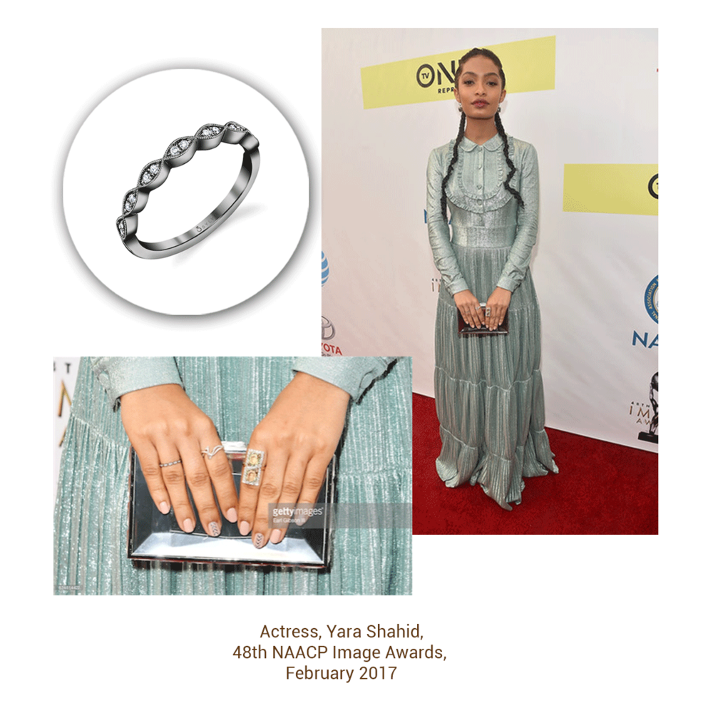 """Yara Shahid, actress most notably from the show """"Blackish"""", wore a beautiful ring from the Sylvie Collection to the 48th NAACP Image Awards."""
