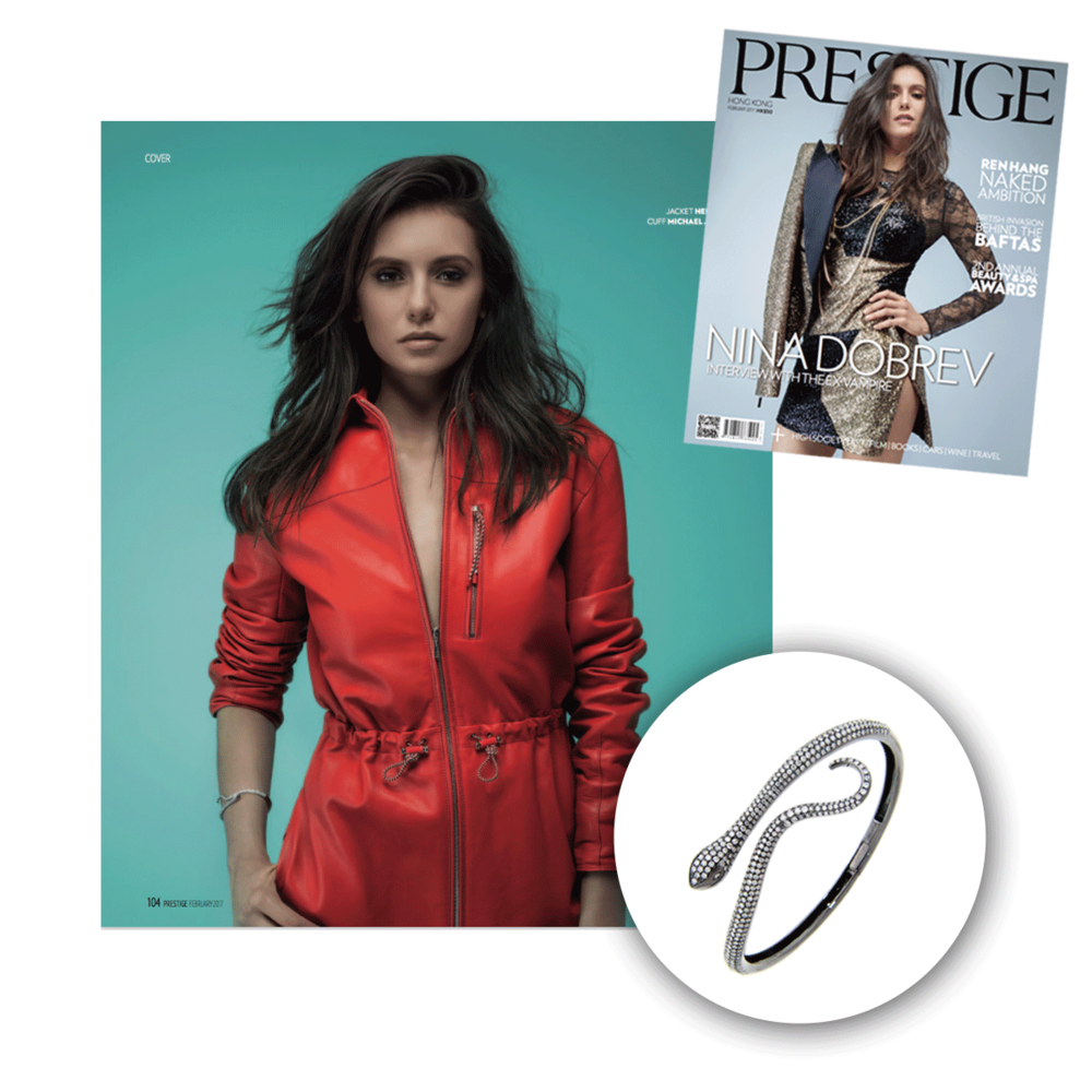 Nina Dobrev looking fabulous as always, this time in Michael John Jewelry for the February issue of Prestige.
