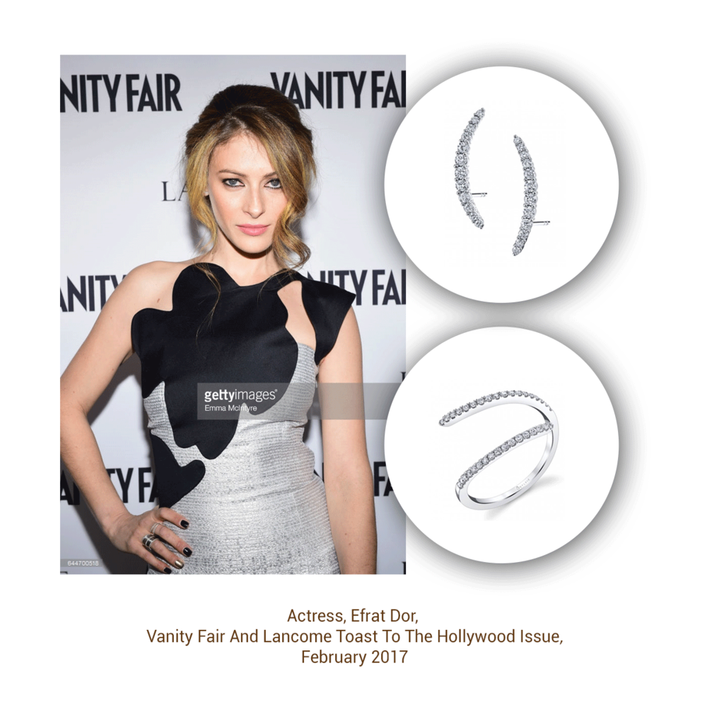 Actress Efrat Dor looks fierce in the Sylvie Collection at the Vanity Fair and Lancome Toast.