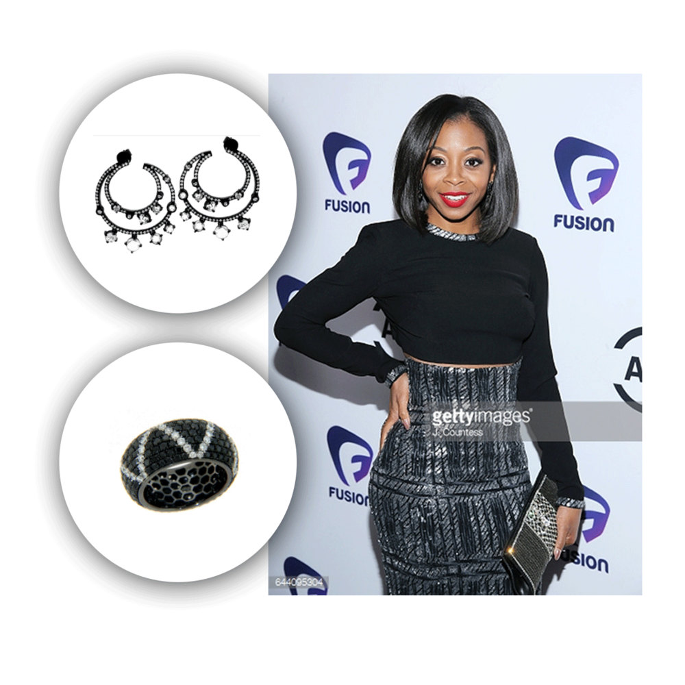 Keeping the theme in black, Bresha also completes her outfit with Michael John Jewelry for the awards.
