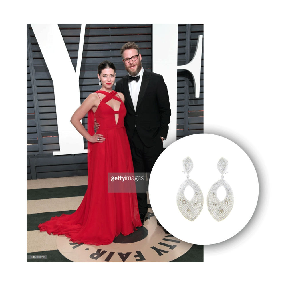 Looking flawless like always, Lauren Rogen completed her ensemble with Michael John Jewelry earrings to the 89th Academy Awards!