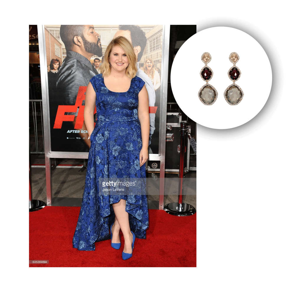 "Jillian Bell looking absolutely stunning in VIANNA BRASIL's earrings at the premiere for her new film ""Fist Fight""."