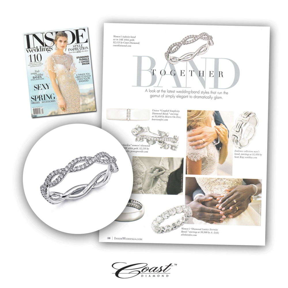 Coast Diamond showcased their elegant infinity band that symbolizes an everlasting love in Inside Weddings Spring 2017 issue.