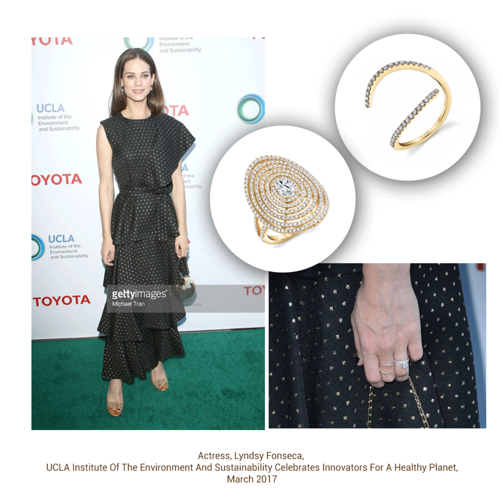 Lyndsy Fonseca looked absolutely gorgeous in these rings from the Sylvie Collection.