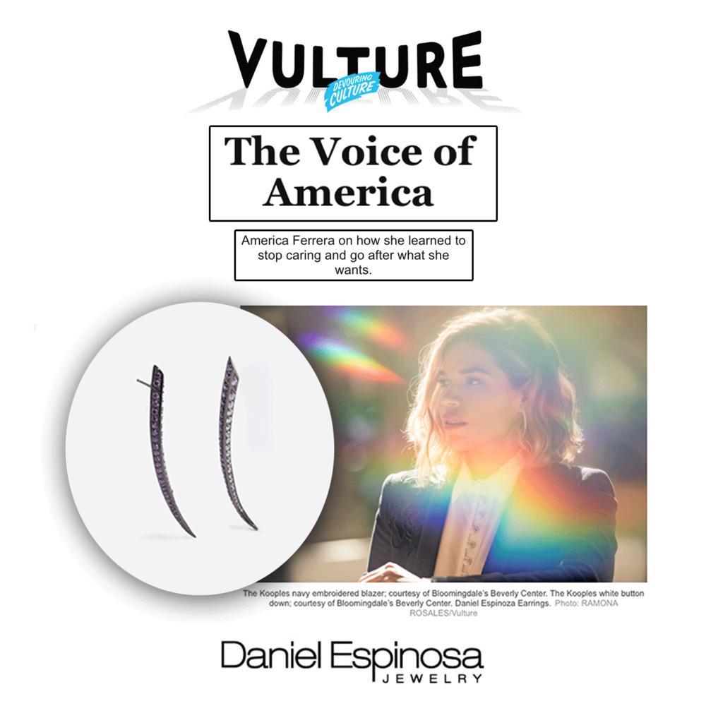 America Ferrera looking absolutely flawless in Daniel Espinosa earrings.