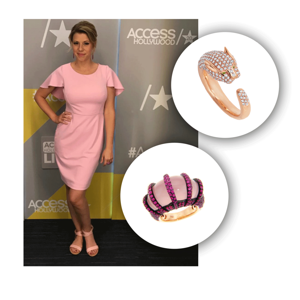 Jodie looking absolutely pretty in pink and rose gold rings from Michael John Jewelry!