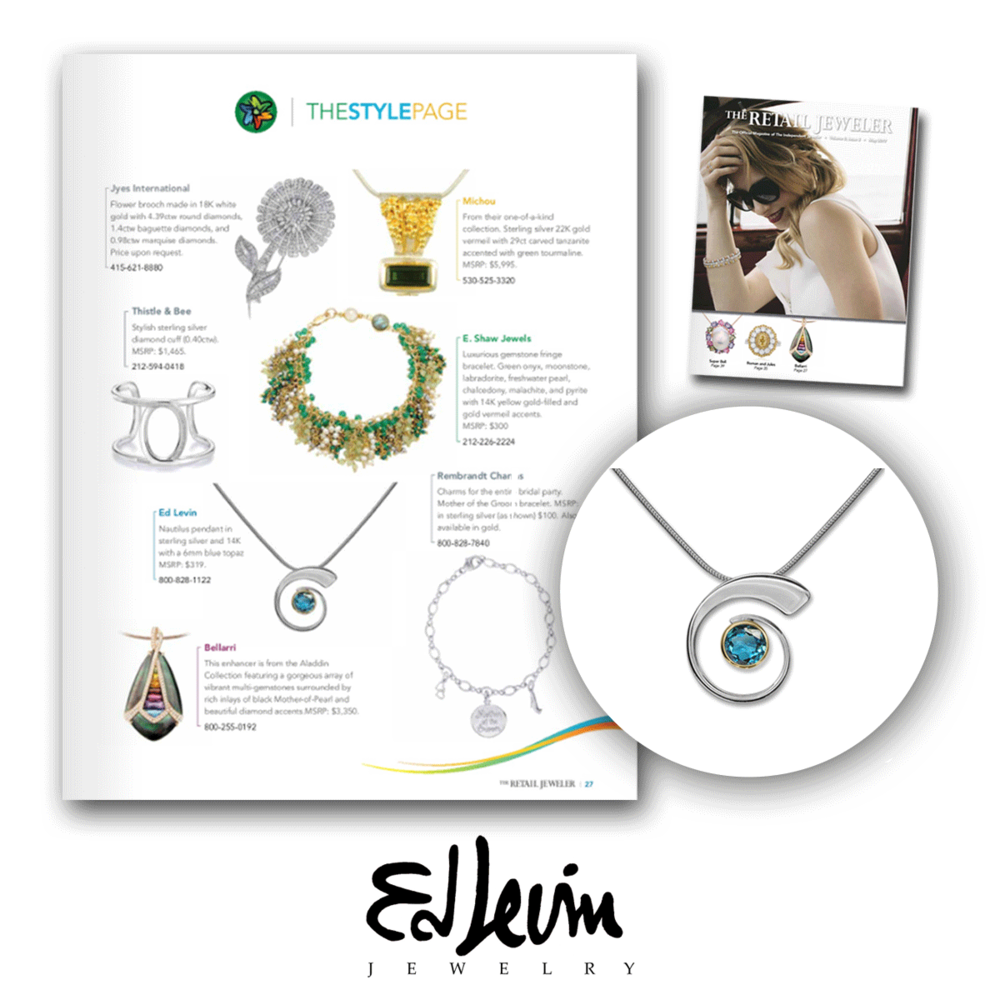 Ed Levin's beautiful conch necklace was also featured in this month's issue of Retail Jeweler!