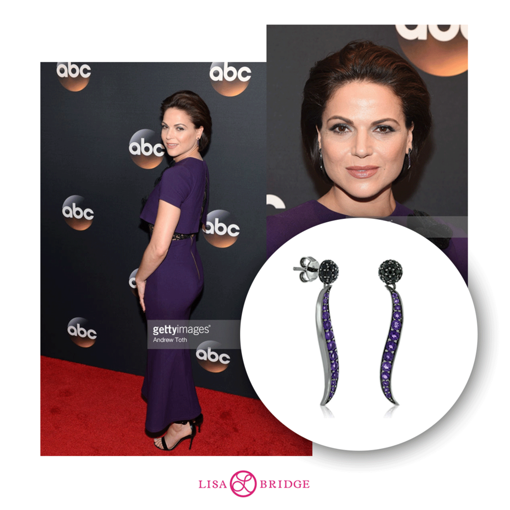 Actress Lana Parrilla wearing Lisa Bridge earrings to the 2017 ABC Upfronts in NYC!