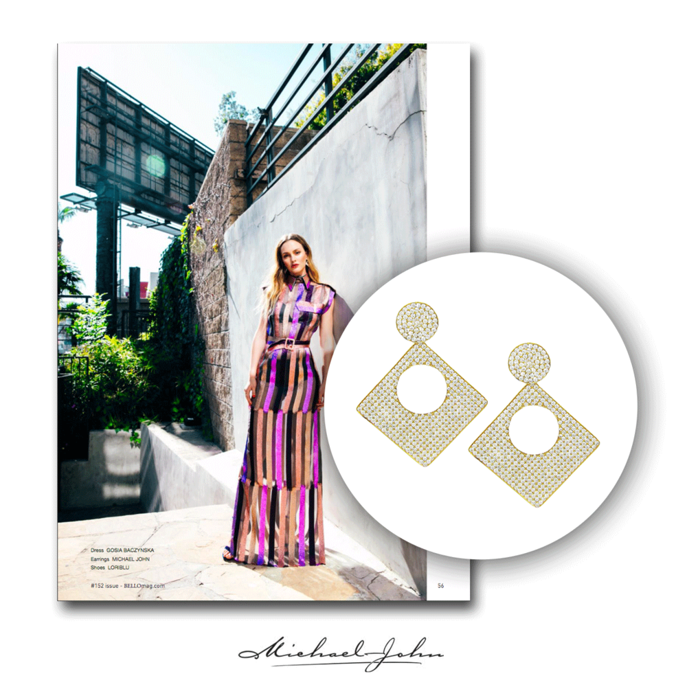 "Actress & style icon, Leighton Meester, wearing Michael John Jewelry earrings for a recent spread with ""Bello Magazine"" !"