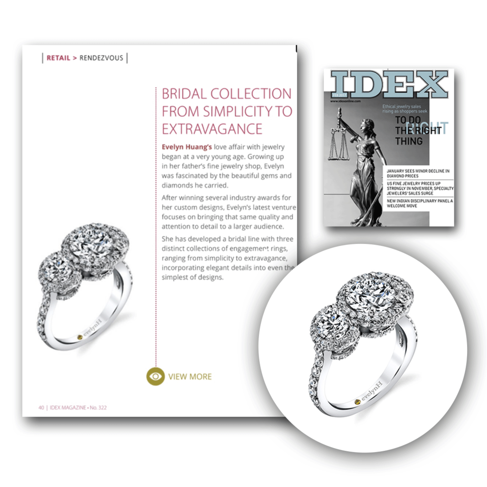 Evelyn H's beautiful Adriane ring was featured in the latest issue of IDEX!