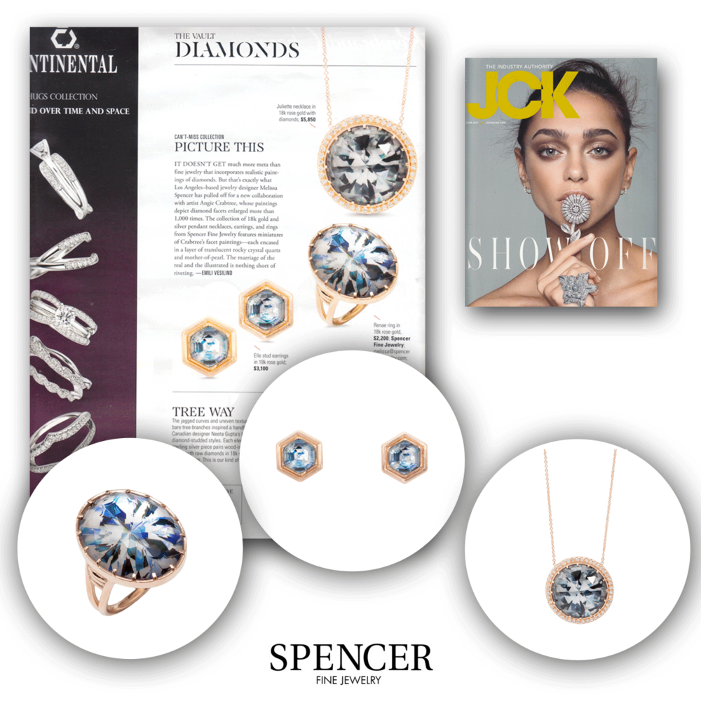 JCK featured Spencer Fine Jewelry not once but TWICE this issue! Looks like we're not the only ones loving this Angie Crabtree collection.