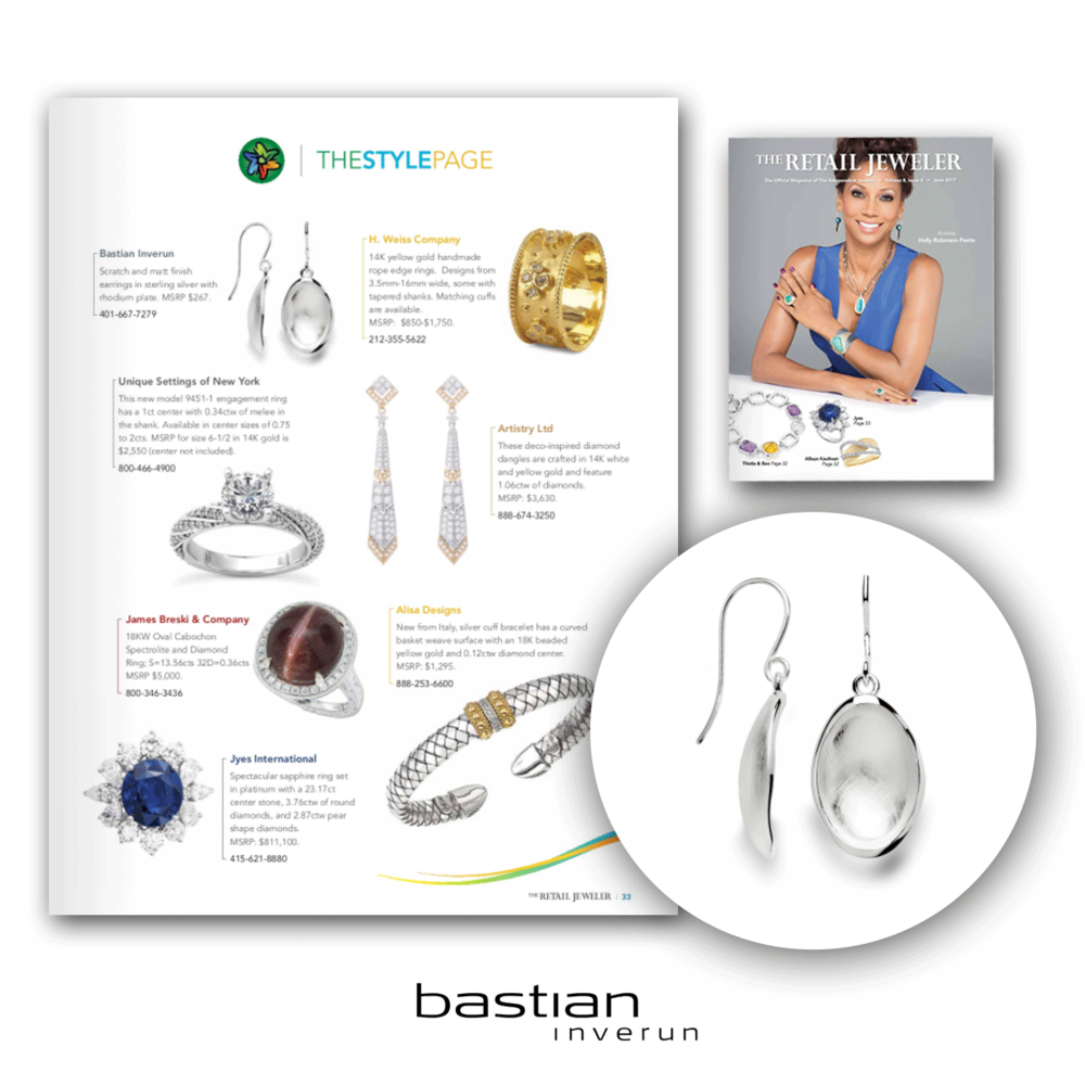 These stunning earrings from Bastian Inverun was also featured this issue of The Retail Jeweler.