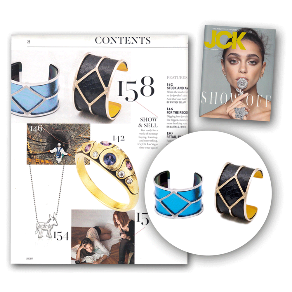JCK also featured the versatile cuffs from Les Georgettes this June issue,