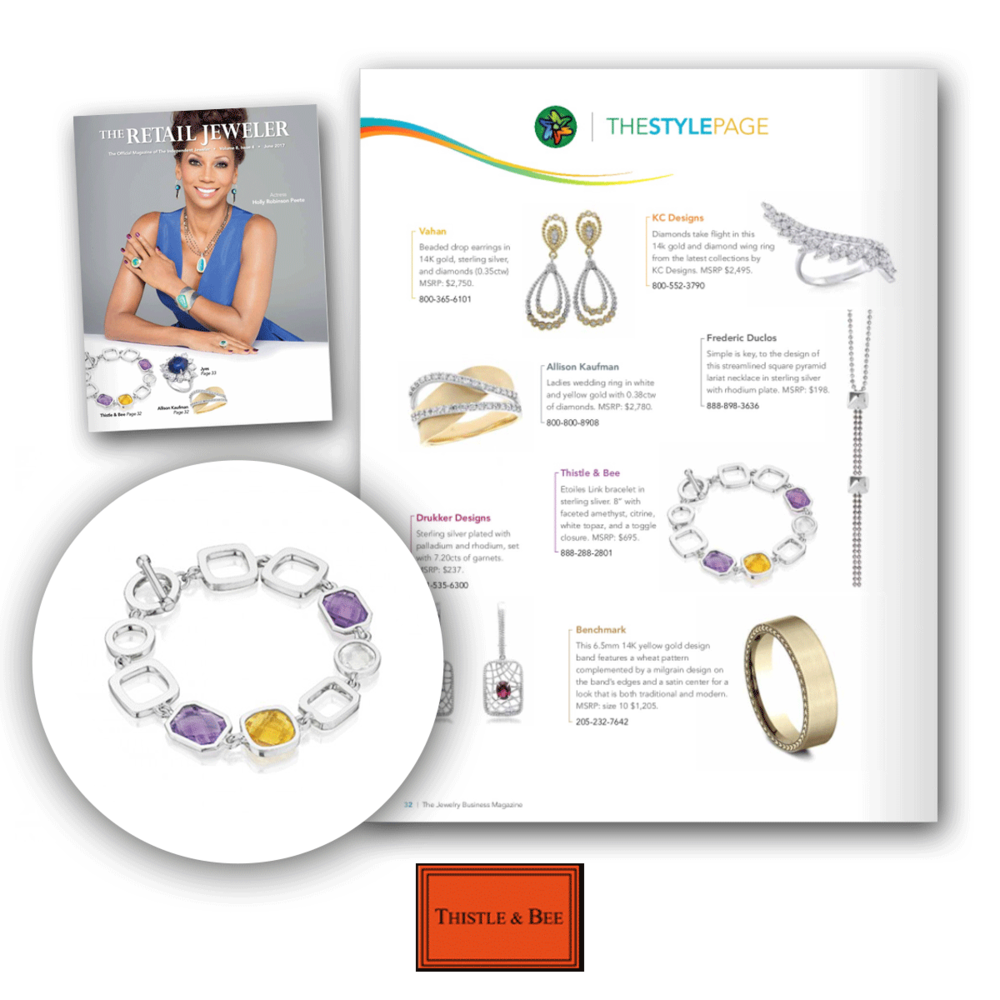 SPS's Thistle and Bee was featured on the cover and style page of this month's issue of The Retail Jeweler.